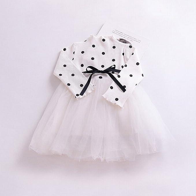 feiXIANG Ropa de bebé recién Nacido Niño niña Bebé niña de Lunares Manga Larga Falda Neta Vestido de Princesa Tutu Ropa Linda Vestido Mini Vestido de ...