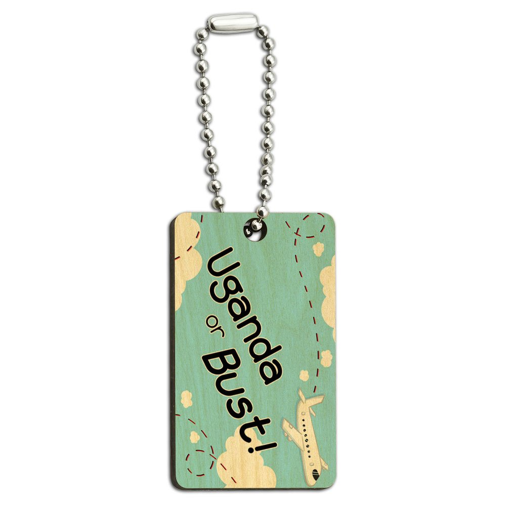 Uganda or Bust - Flying Airplane Wood Wooden Rectangle Key Chain
