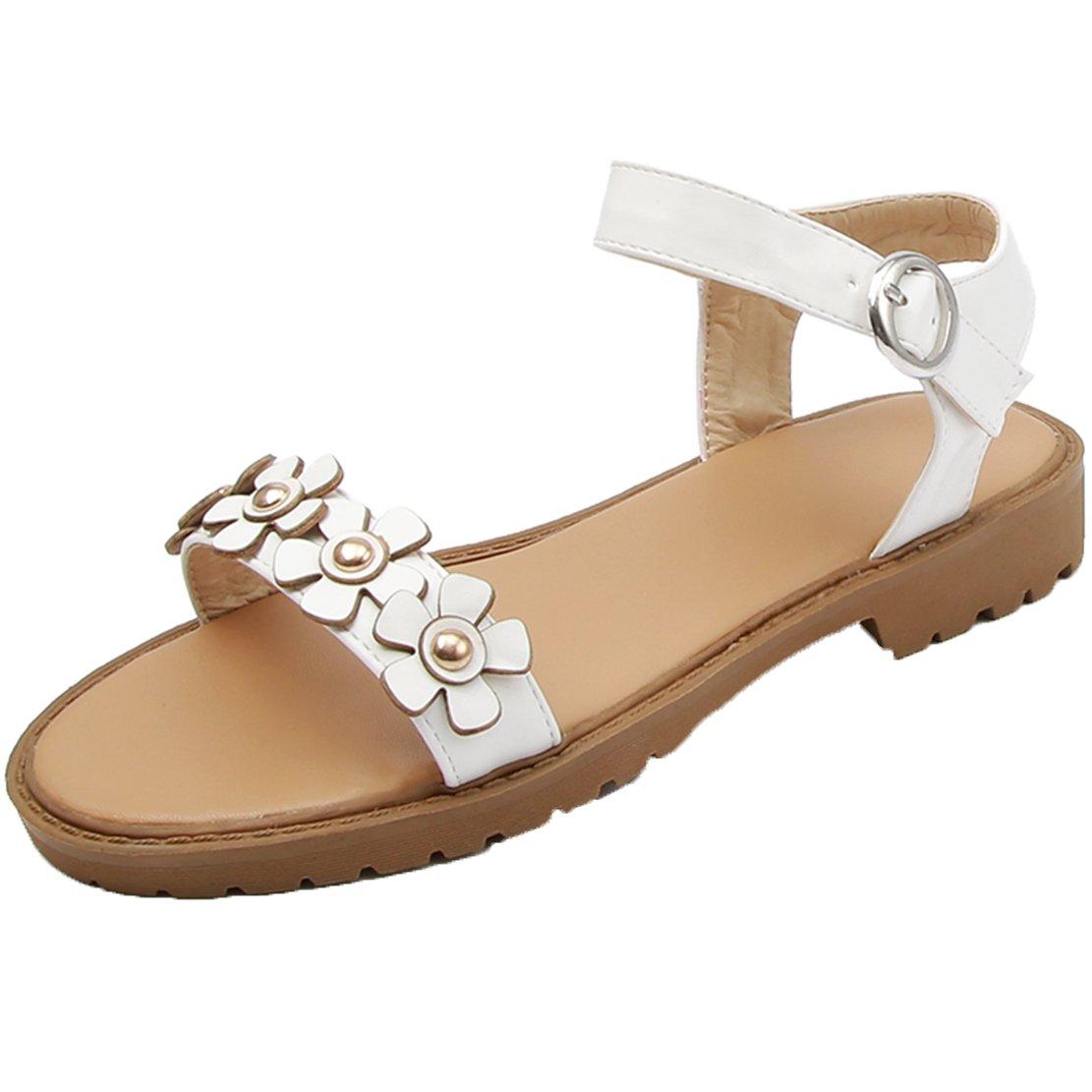 AIYOUMEI Damen Flache Sandalen mit Blumen Sandaletten Riemchen Flach Bohemia Schuhe Sommer Bequem  37 EU|Wei?