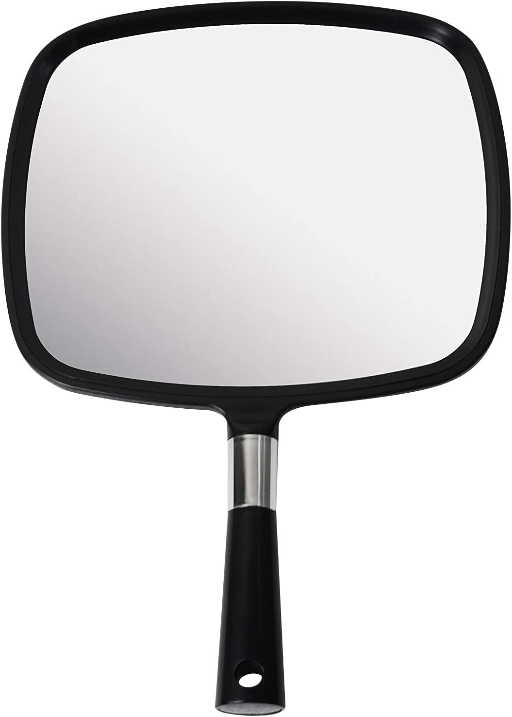 Mirrorvana Large Comfy Hand Held Mirror with Handle – Barber Model in Black 1-Pack