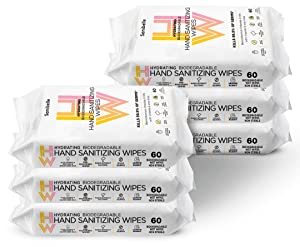 Sanibelle Hydrating Hand Sanitizing Wipes (360 Total Wet Wipes) Alcohol-Free - 6 Packs of 60 Biodegradable Antibacterial Hand Wipes + Vitamin E & Aloe - 60 Sanitizer Wipes per Pack - Made in the USA