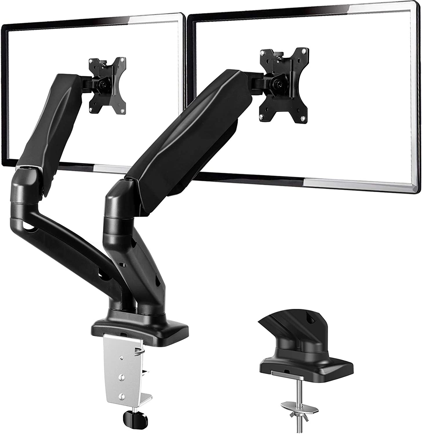 Dual Monitor Stand - Adjustable Dual Arm Monitor Mount Desk Stand for 13 to 32 Inch Screens, Each Arm Hold 4.4 to 17.6lbs