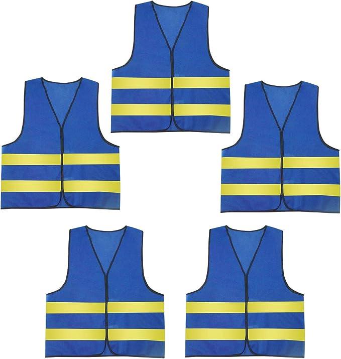 Aieoe Warnweste 5 Stück Luftdurchlässige Sicherheitweste Unisex Pannenweste Reflektierende Schutzweste Blau Und Gelb Bekleidung