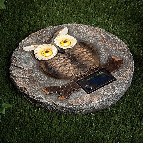Bits And Pieces   Solar Owl Garden Stone   LED Outdoor Garden Décor   Lawn  Stone
