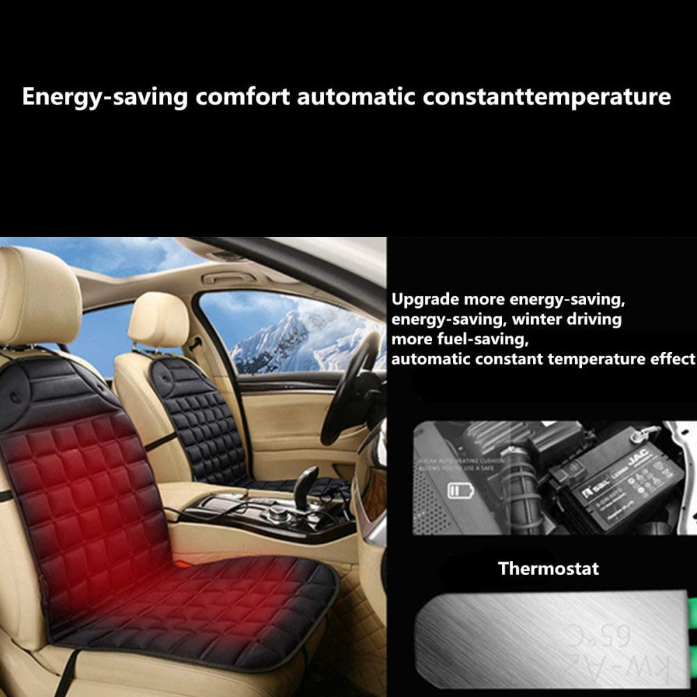 YYMMQQ Cubierta del Asiento de Carro 12V Electric Heated Car Seat Cushion Winter Car Seat Pad Car Auto Massage Back//Heated Seat Covers Universal Conjoined Supplies,Black