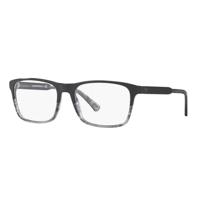 Emporio Armani 0EA3120, Monturas de Gafas para Hombre, Black/TR Striped Grey, 55: Amazon.es: Ropa y accesorios