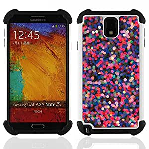 - pink purple dots abstract red lights - - Doble capa caja de la armadura Defender FOR Samsung Galaxy Note3 N9000 N9008V N9009 RetroCandy