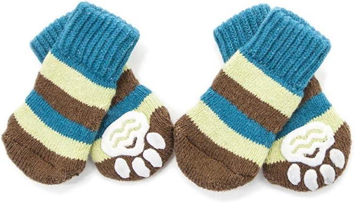 Dog Stripe Winter Warm Socks Anti-Slip Paw Protection Indoor Wear Gifts for Puppy Dog Cat NashaFeiLi Pet Socks Blue Stripe, S
