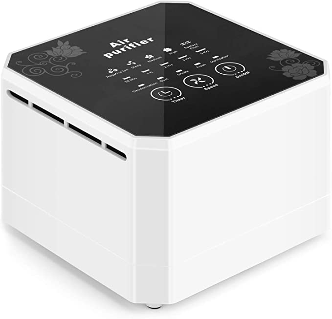 potulas Air Purifier with True HEPA Filter, 3-in-1 Filter Desktop Air Cleaner Eliminates Pet Dander, Odors