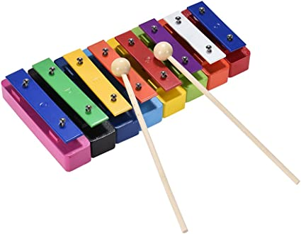 ammoon 8 Note Glockenspiel Resonator Bells Set Percussion Teaching Instrument Toy with 2 Mallets