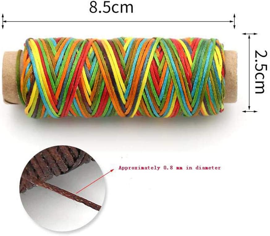 24station 150D 0.8MM Leather Sewing Waxed Thread Flat Waxed Thread 6pcs Multicolor