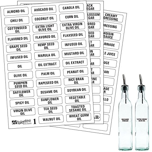 114 Alphabetized Liquids Label System: 114 Names of Oils, Vinegars, Sauces, Syrups & Blank Labels by Talented Kitchen. Clear PVC Sticker, Black Font. Pre-printed Condiments (114 PVC LIQUID LABELS)