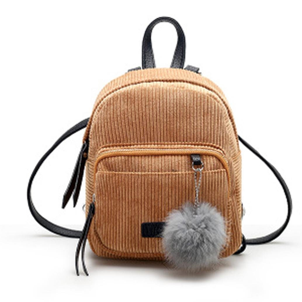 Womens Leather Corduroy Backpack Casual Style Flap Backpacks Daypack for Ladies (Khaki)