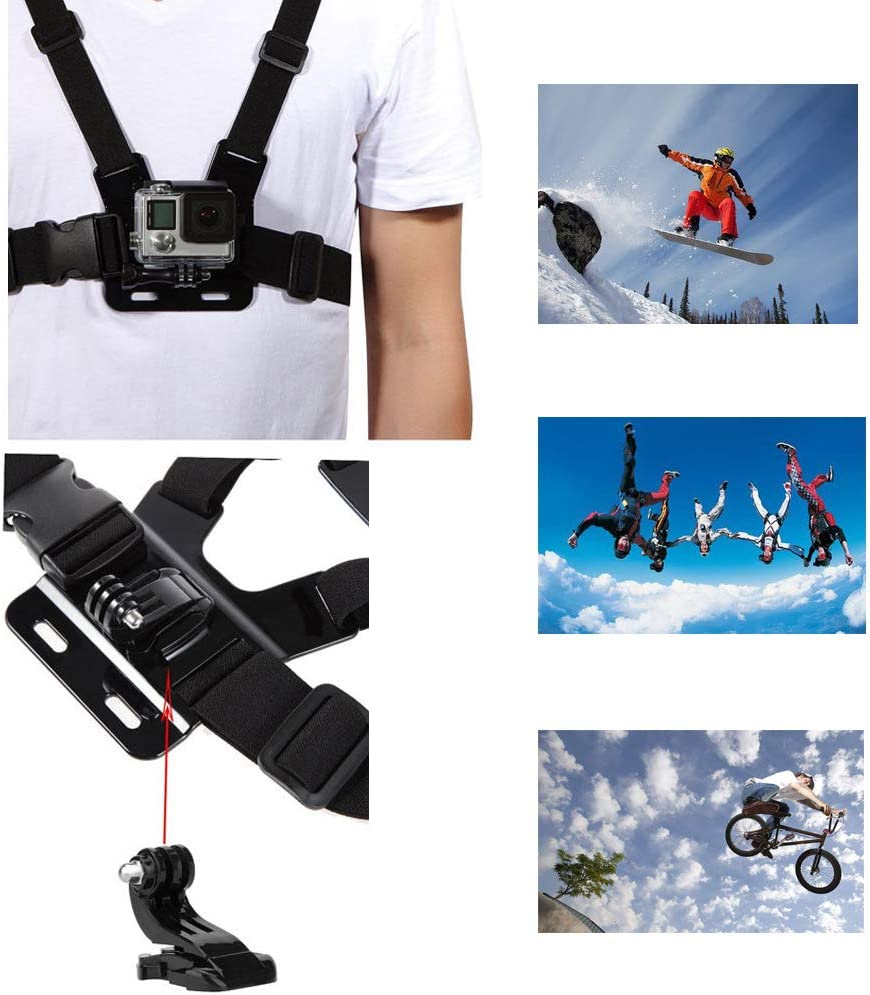 VVHOOY Adjustable Chest Mount Harness Compatible with Gopro Hero 7//6//5 Black Hero 4 Session AKASO EK7000 Brave 4 APEMAN FITFORT Dragon Touch Campark Crosstour Action Camera Accessories