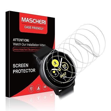 MASCHERI Protector de Pantalla para Samsung Galaxy Watch Active 2 (40mm) / Samsung Galaxy Watch Active, [6-Unidades] Humedecido Instalacion ...