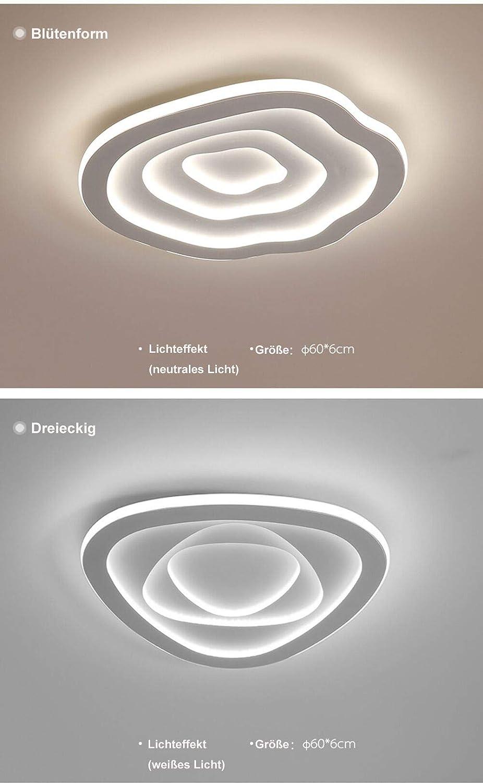 Dreieckig 40 * 6 60W, dreifarbiges Licht Kreative LED Schlafzimmerlampe moderne minimalistische Deckenlampe warme romantische Lampen