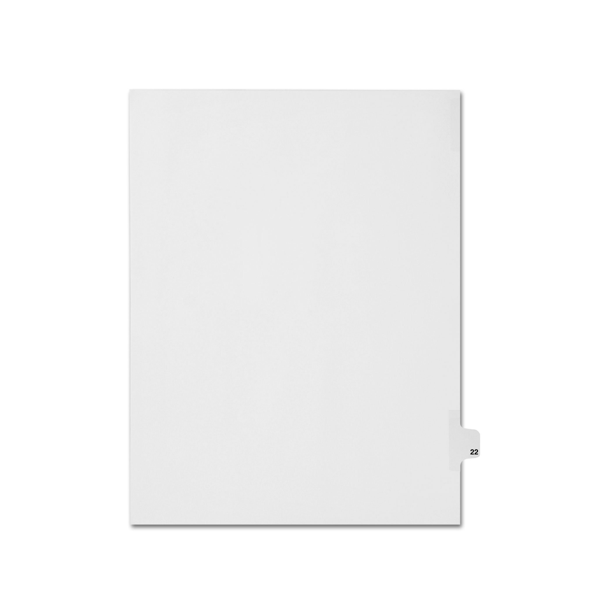 AMZfiling Individual Legal Index Tab Dividers, Compatible with Avery- Number 22, Letter Size, White, Side Tabs, Position 22 (25 Sheets/pkg)
