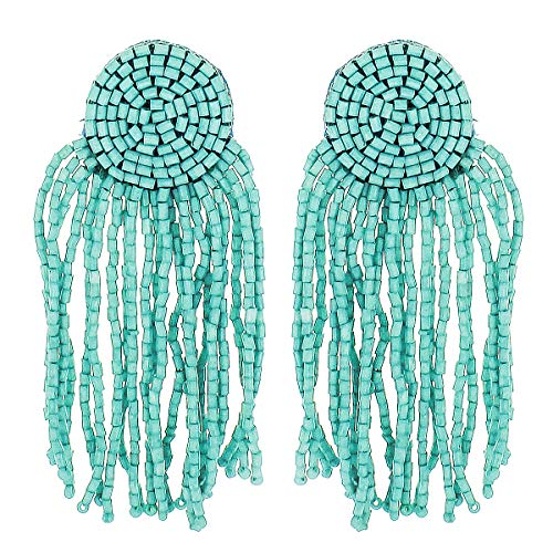 (Panacea Seed Bead Circle Earring With Seed Bead Fringe, Turqouise, One Size)