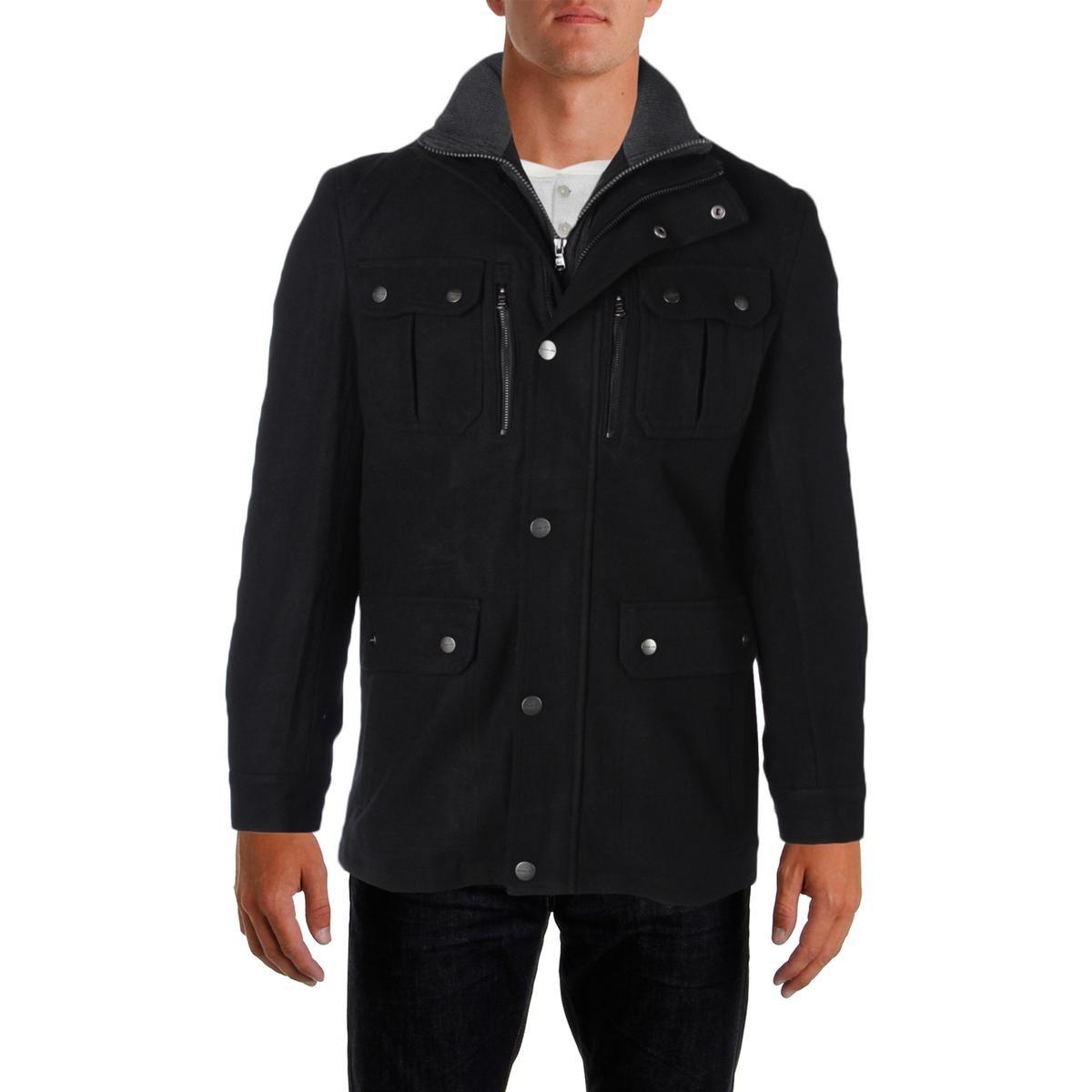 Michael Kors Mens Wool Attached Bib Field Coat Black S