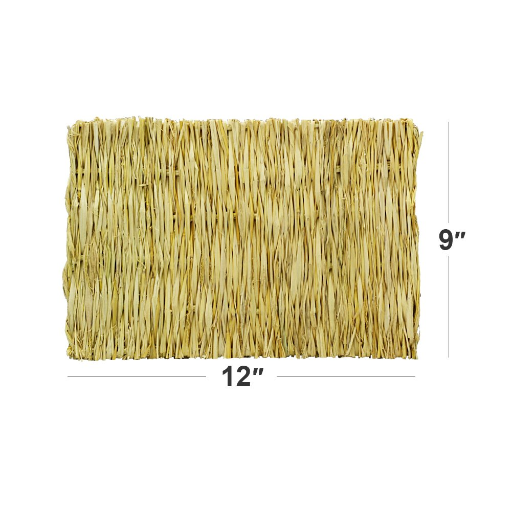 ULIGOTA Natural Woven Hay Mat for Rabbit Hamster Chinchilla Cage Bedding, Chew Toy for Guinea Pig Chinchilla Hamster - 3 Pack by ULIGOTA (Image #3)