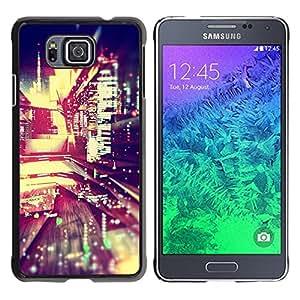 Noche luces de la ciudad de Blur Edificios vida en la calle- Metal de aluminio y de plástico duro Caja del teléfono - Negro - Samsung ALPHA G850
