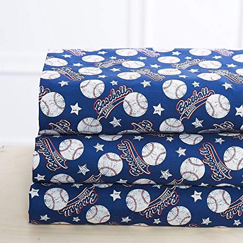 Elegant Home Blue White Red Baseball League Sports Design 4 Piece Printed Sheet Set with Pillowcases Flat Fitted Sheet for Boys/Kids/Teens # Baseball (Queen Size) (Blue Elegant Bedding)