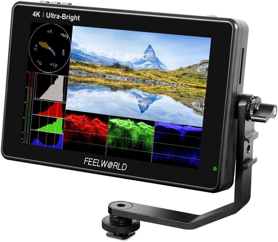 Feelworld LUT7 7 Pulgadas 2200nit Ultra Brillante 3D Lut Touch Screen DSLR C/ámara Monitor de Campo 1920x1200 IPS 4K HDMI DC Output Forma de Onda Sensor de Luz