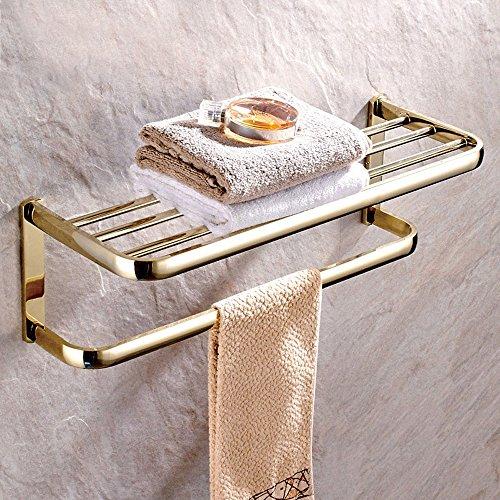 Gold Wall Bracket (Leyden™ Gold Finish Solid Brass Bath Towel Holder Shelf Wall Mounted Bathroom Shelf)