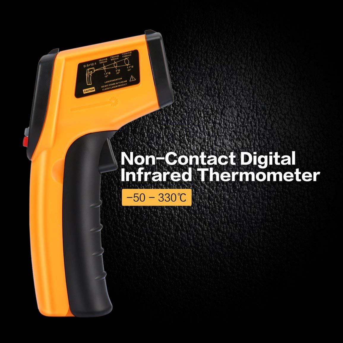 Colore: giallo Termometro digitale a infrarossi senza contatto Pistola Termometro a infrarossi Punto laser IR Termocamera a infrarossi Temperatura Misuratore palmare Pirometro