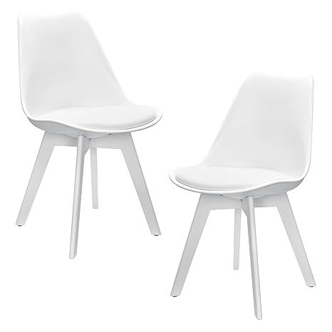 [en.casa]®] Set de 2 sillas de Comedor (Blanco) Set para Comedor/salón/Juego de sillas para Cocina