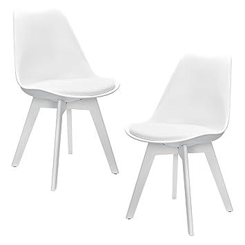 [en.casa]®] Set de 2 sillas de Comedor (Blanco) Set para Comedor/salón /  Juego de sillas para Cocina