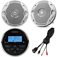 Jensen MS-3ARTL Gauge Style Marine Yacht ATV Motorcycle Waterproof Stereo Bundle Combo With 2x JBL MS6510 6.5 Inch Boat Speakers + Enrock Universal USB / AUX To RCA 10 Extension Cable
