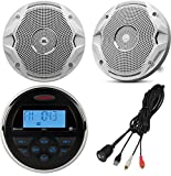 Jensen MS-3ARTL Gauge Style Marine Yacht ATV Motorcycle Waterproof Stereo Bundle Combo With 2x JBL MS6510 6.5'' Inch Boat Speakers + Enrock Universal USB / AUX To RCA 10'' Extension Cable