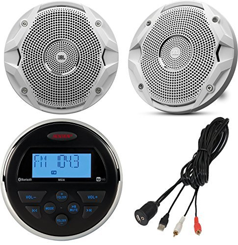 Jensen MS-3ARTL Gauge Style Marine Yacht ATV Motorcycle Waterproof Stereo Bundle Combo With 2x JBL MS6510 6.5