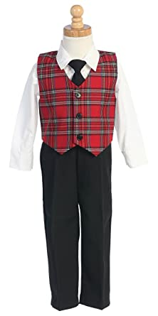 boys christmas suit tie clothing 4 pc set plaid 12 18 months