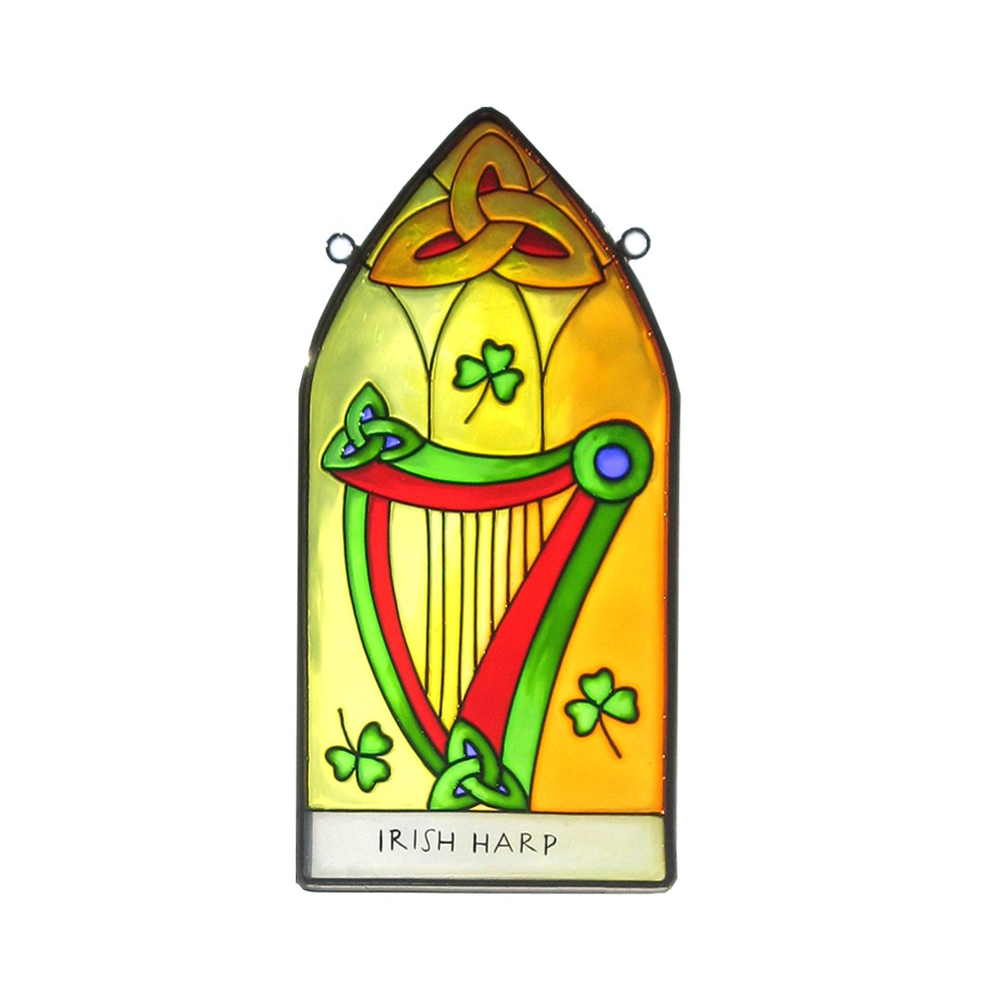 Irish Harp Suncatcher - gothic stained glass window hanging. Irish gift shipped from Ireland. Royal Tara