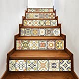 """AmazingWall Stair Sticker Tile Backsplash DIY Decals Peel and Stick Removable Staircase Decor Mural 7.1x39.4"""" 6PCS/SET"""