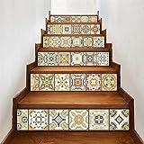 "backsplash tile pictures  Stair Sticker Tile Backsplash DIY Decals Peel and Stick Removable Staircase Decor Mural 7.1x39.4"" 6PCS/SET"