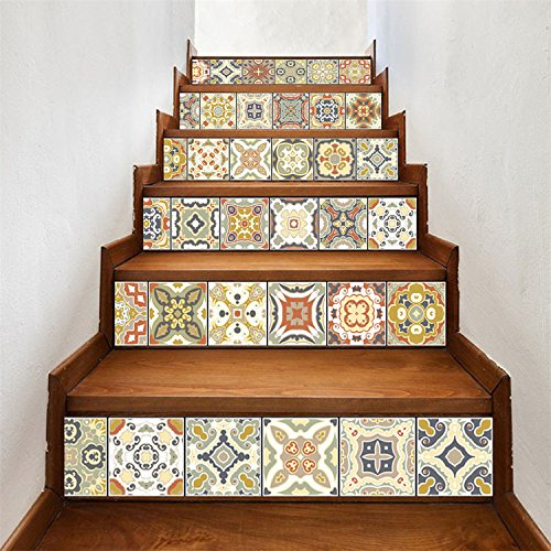 AMAZING WALL AmazingWall Stair Sticker Tile Backsplash DIY Decals Peel and Stick Removable Staircase Decor Mural 7.1x39.4 6PCS/Set