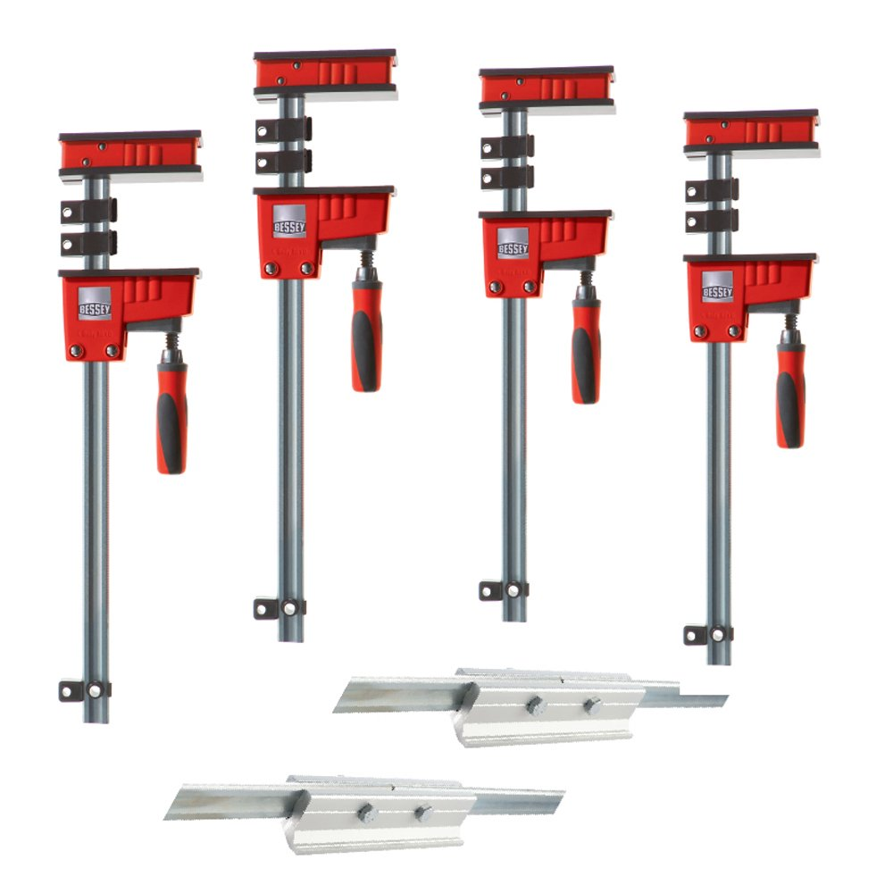 Bessey KRX2440 K Body REVO Fixed Jaw Parallel Clamp Kit Includes: 2-24-inch, 2-40-inch K Body Clamps and 2-KBX20 Extenders