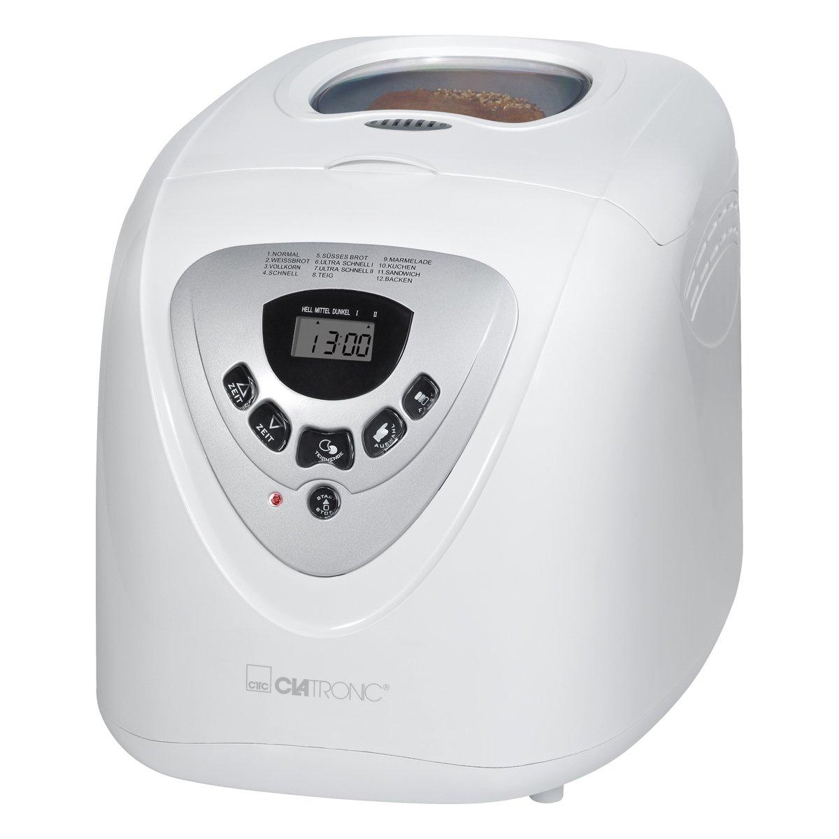 Clatronic BBA 3505 Panificadora programable, Capacidad 1 kg, 12 programas cocción, 39 Posibilidades