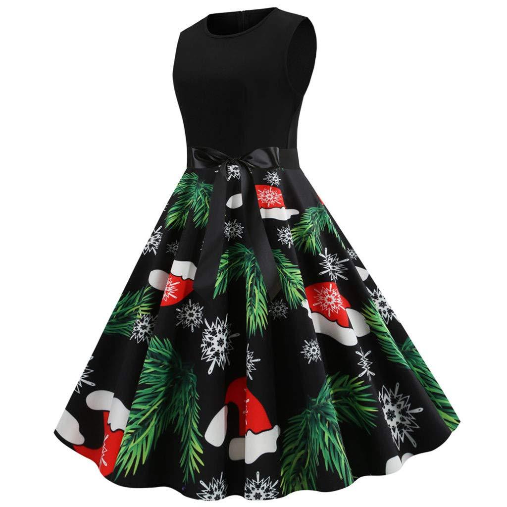 Ladies Santa Snowman Printed Prom Dress Vintage Plus Size Short Sleeve//Sleeveless//Long Sleeve 1950s Dress Womens Rockabilly Swing Dresses Retro Christmas Evening Party Dress