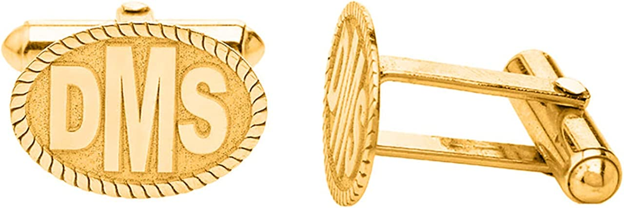 Certified 14k Yellow Gold Personalized Engraved Initial Monogram Cufflinks Custom 3 Letters