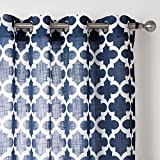 """Window Screenings Kasi Window Treatments Net Curtains Printing Curtains Geometric Pattern Design Slub Yarn 2 Panels for Curtains With Grommets for Your Fresh Experience (54"""" W x 84"""" L - Each Panel)"""