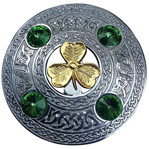 - Scottish Kilt Fly Plaid Brooch Irish Shamrock with 4 Stone 4