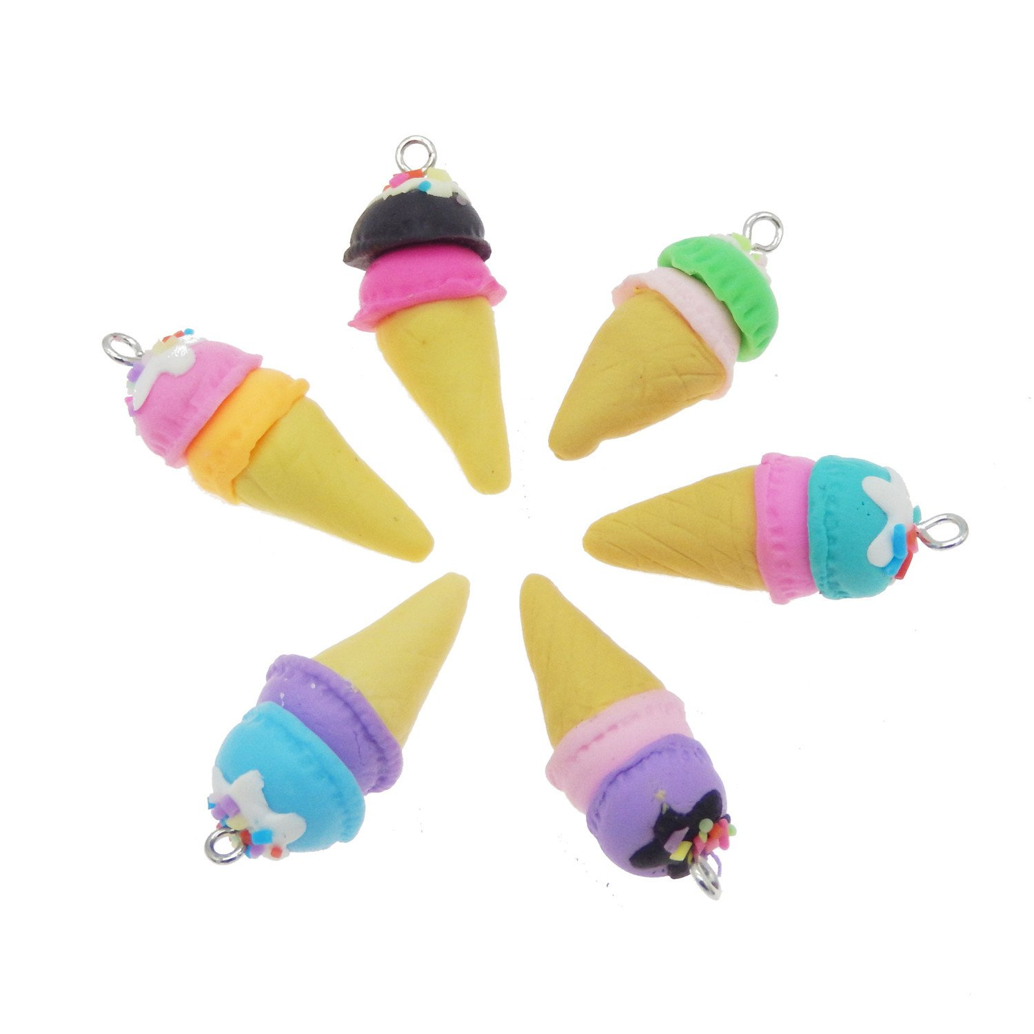 GraceAngie Handmade 20pcs Mix Polymer Clay Cute Ice Cream Charms Pendant for DIY Keychain Necklace Bracelet Jewelry Making, 36x16mm