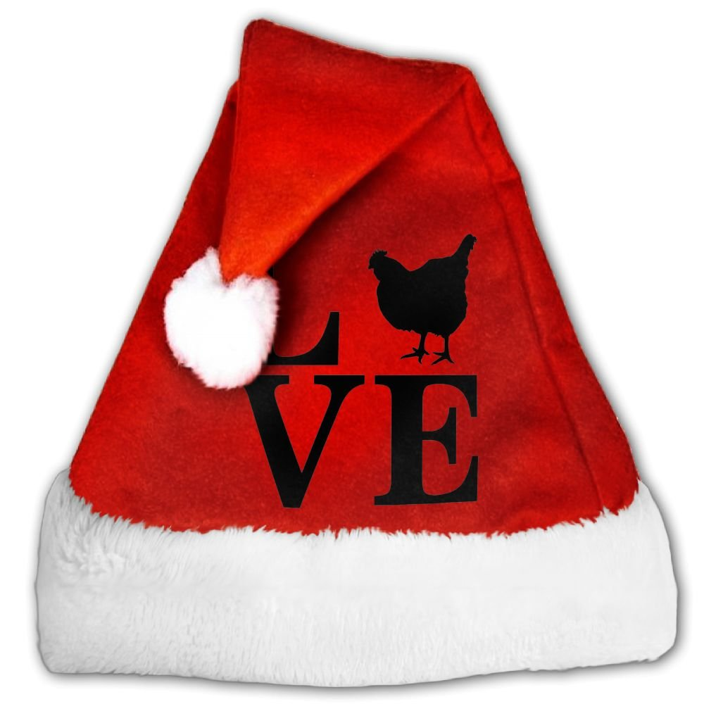 Farm Animal Love Chickens Christmas Hat Velvet Santa Claus Hat S Size For Kid,M Size For Adult