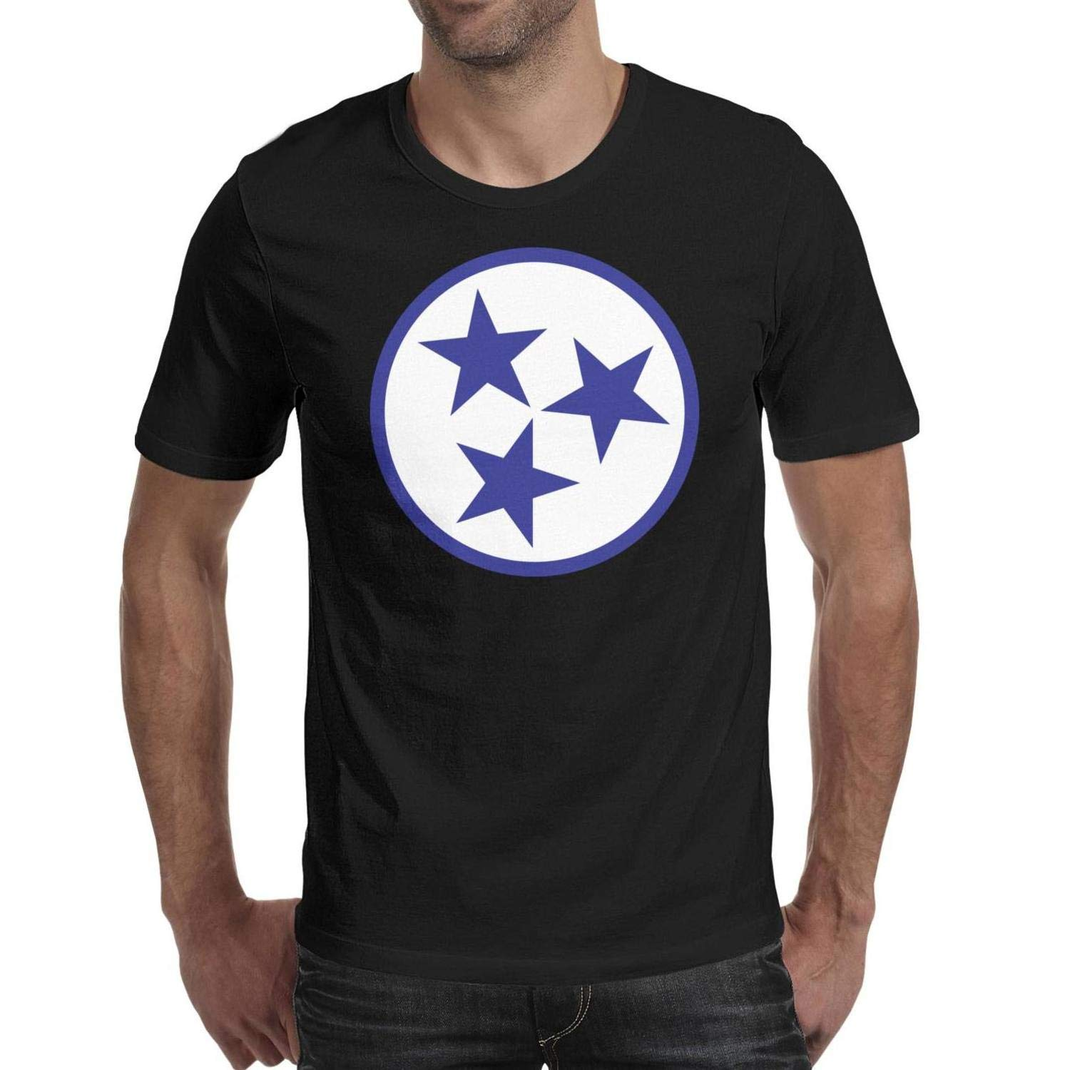 Casual Tennessee Star Blue Mens Tops T Shirts T-Shirt Cotton,Cable,Slim-Fit,Crew Neck,Solid,Graphic,Novelty} Comfy