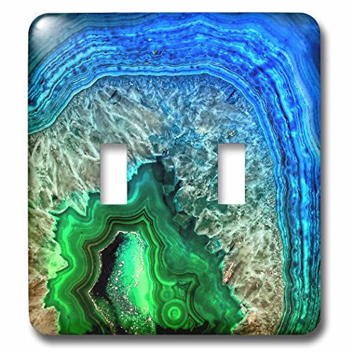 3dRose Uta Naumann Pattern - Image of Luxury Indigo and Green Marble Agate Gem Mineral Stone - Light Switch Covers - double toggle switch (lsp_274959_2) by 3dRose