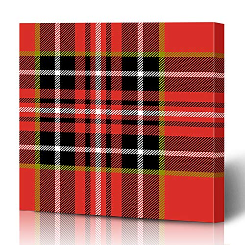 Ahawoso Canvas Prints Wall Art 16x16 Inches Line Green Pattern Red Black White Tartan Retro Abstract Plaid Kilt Scottish Bright British Checked Decor for Living Room Office Bedroom ()